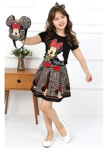 Riccotarz Kız Çocuk Çantalı Leoparlı Minnie Mouse Etekli Takım Siyah